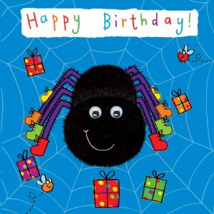 Childrens Birthday Card - Spider